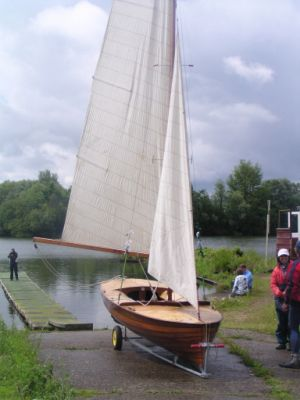 "Merlin Rocket 16 ""Gently"" which was Jack Holt's own boat Relaunched at Jack Holt Centenary event July 2012"