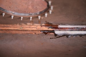 """Tanks had """"fillet"""" of black glue which had cracked. All removed and replaced by epoxy."""